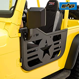 EAG Military Star 2 Tubular Door with Side View Mirror Fit for 97-06 Jeep Wrangler TJ