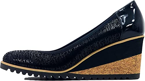 Arka1927 - zapatos de Vestir de Cuero para mujer negro Metalic