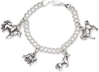Sterling Silver Horse Themed Charm Bracelet, Silver Horse Charm Bracelet, Donna Pizarro's Animal Whimsey Collection