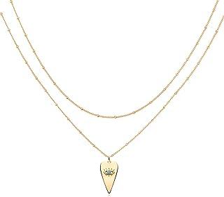قلادة من Mevecco ذات طبقات على شكل قلب قلادة مصنوعة يدويا 18 كيلو مطلية بالذهب الأنيق قلادة السهم شريط طبقات طويلة للنساء