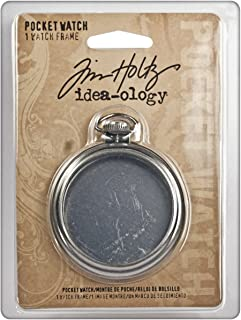 Pocket Watch by Tim Holtz Idea-ology, 1 Piece, 2-1/2 Inches, Metal and Plastic, Antique Nickel Finish, TH92910