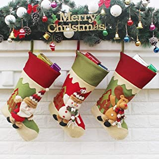 Large Decorative Gift Bags Christmas Stockings Christmas Decoration Supplies Large Gift Bag Christmas Stockings,Durability (Color : Three-Piece Suit, Size : 23cm*45cm*28cm)