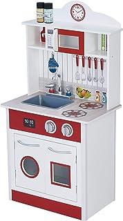 comprar comparacion Teamson Kids- cocina de juguete de madera, Color blanco rojo (TD-12385R)