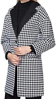Women Ladies Gird Lapel Patchwork Causal Houndstooth Coat Outwear Pea Coats