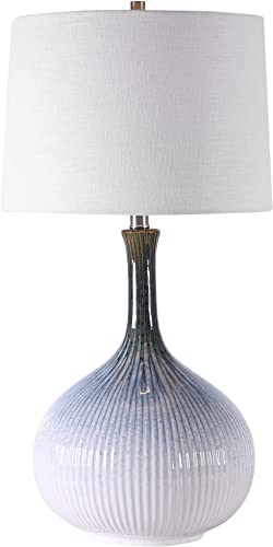 new arrival Uttermost outlet sale Eichler Cream Blue and Brown 2021 Ceramic Table Lamp online