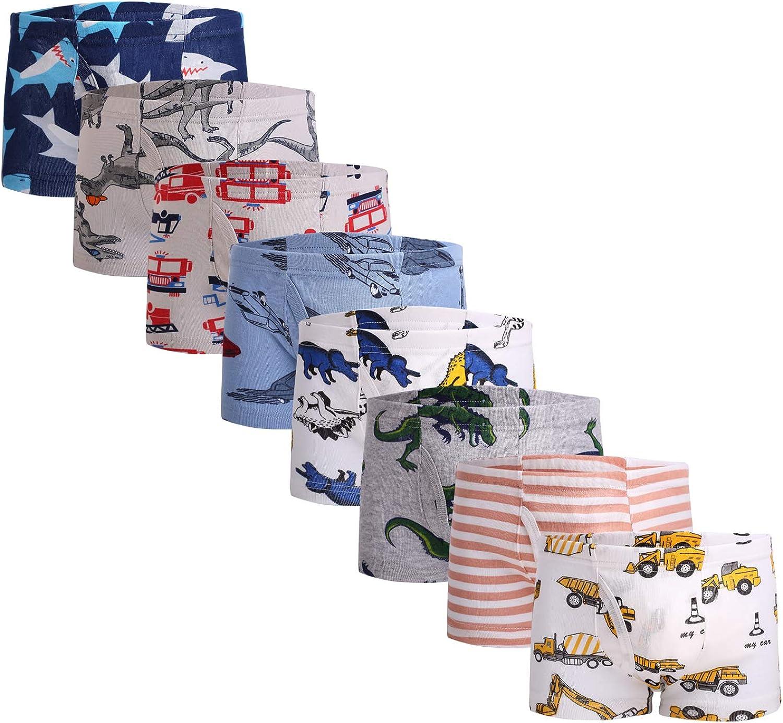 Fenhant Little Boys Soft Cotton Briefs Dinosaur Truck Shark Baby Toddler Kids Underwear 6-8-9 Pack