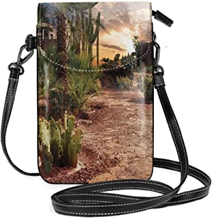 Women Small Cell Phone Purse Crossbody,Majestic Sky View Palm Trees And Cactus In Oasis Morocco Tropic Nature