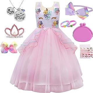 Girl Kid Unicorn Costume Pageant Flower Princess Dress w/ 7 Unicorn Accessories (1-2 Years, Pink)