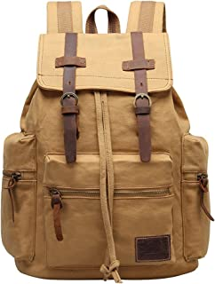 GINGOOD Canvas Backpacks Vintage Rucksack Casual Leather Army Kipling Knapsack 21L