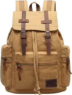 GINGOOD Canvas Backpacks Vintage Rucksack Casual Leather Army Kipling Knapsack 21L