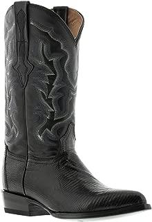 EL PRESIDENTE - Men's Black Genuine Lizard Skin Leather Cowboy Boots J Toe.
