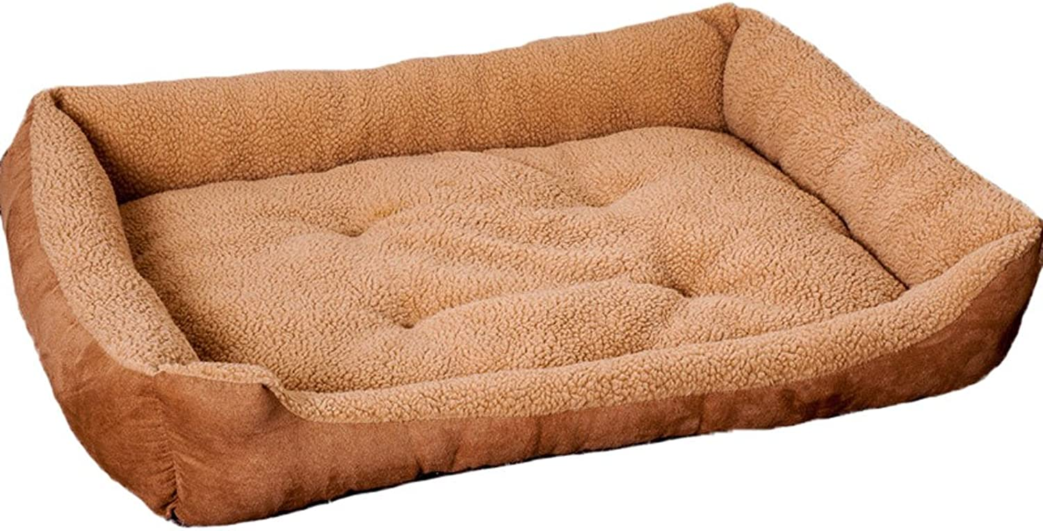 GCHOME dog bed Pet Bed Cashmere Fabric Dog House Seasons Universal Nonslip Soft Comfortable Cool Breathable And Durable Warm (Size   M(705517cm))