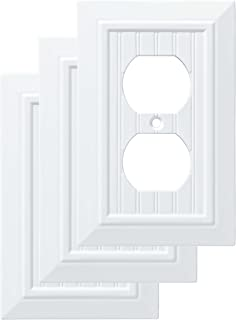 Franklin Brass W35266V-PW-C Classic Beadboard Single Duplex Wall Plate/Switch Plate/Cover (3 Pack), Pure White