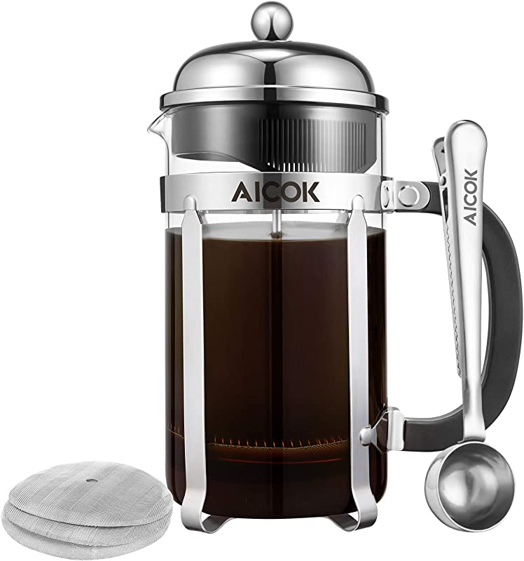 Aicok French Press Coffee Maker 34 Oz 1L 8 Cup Tea Maker French Press Machine Heat Resistant Borosilicate Glass Coffee Press Tea Press With 3 Bonus Stainless Steel Filter Screens And 1 Scoop