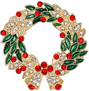 Merdia Created Crystal Brooches for Women Wreath Flower Brooch Pins Christams Gift