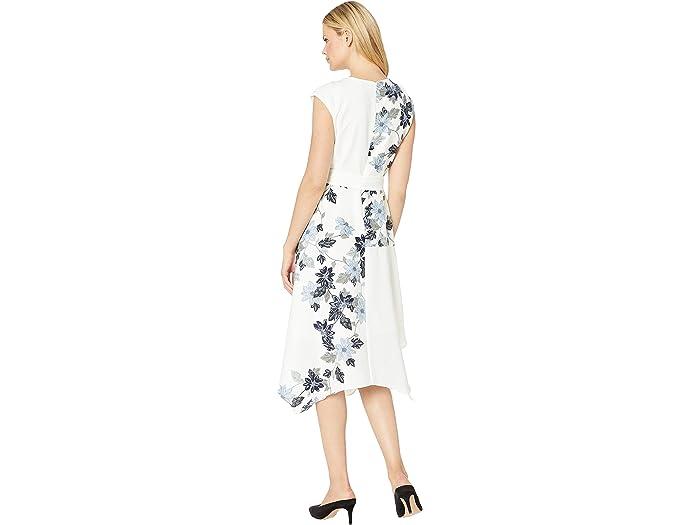 Vince Camuto Extend Shoulder Floral Vines Belted Dress