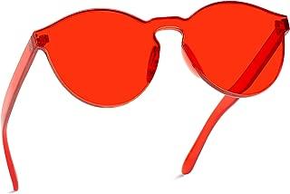Colorful One Piece Transparent Round Super Retro Sunglasses