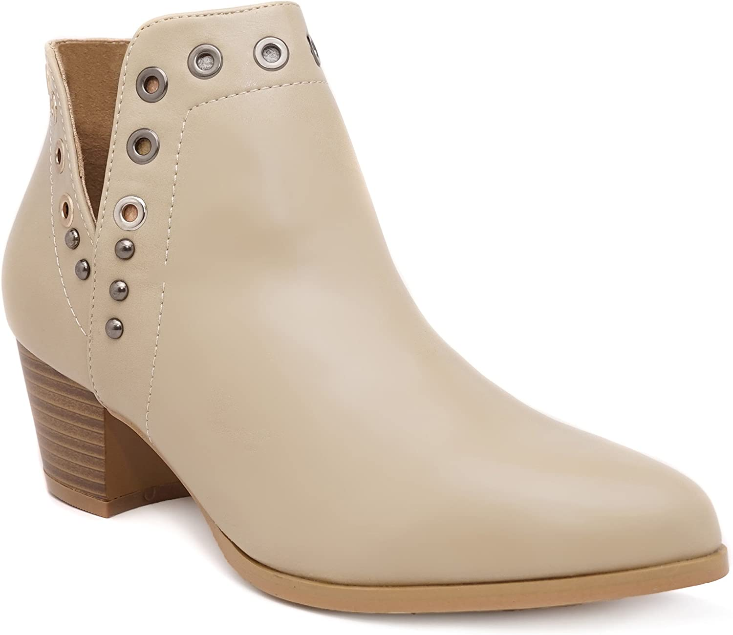 Charles Albert Women's Stacked Ankle Bootie Side Cut Boot
