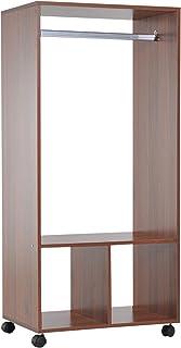 HOMCOM Armoire penderie étagère 2 niches penderie 4 roulettes pivotantes dim. 60L x 40l x 128H cm Coloris chêne Moyen