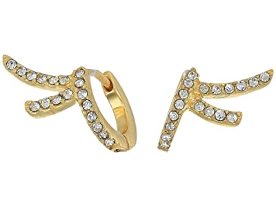 Vince Camuto Climber Huggies Earrings (Gold/Crystal) Earring