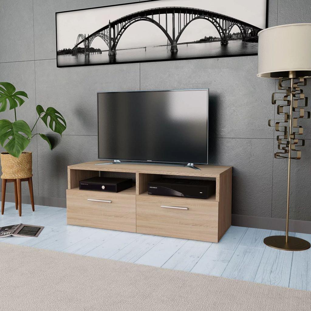 Tidyard Mesa para TV Mueble TV Salón Mesa Televisión Mueble Comedor Televisor Bajo con 2 Estantes y 2 Armarios Estilo de Moderno PVC 95x35x36cm Roble: Amazon.es: Hogar