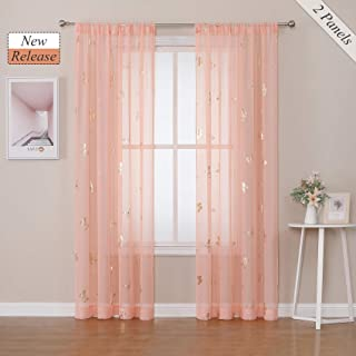Jubilantex Coral Pink Butterfly Sheer Curtains Window...