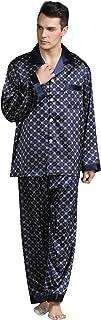 YAOMEI Mens Pyjamas Set Satin Long, Mens Silky Long Sleeves Nighties Couples PJ Set Sleepwear Nightwear, Lingerie Button P...