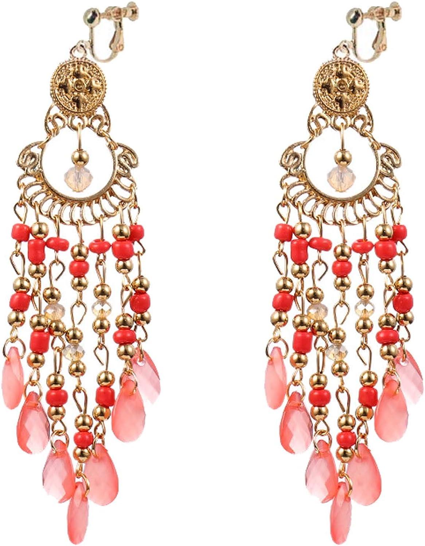 Women's Bohemian style Seed Beaded Clip on Hoop Earrings for Girls Women Multi Crystal Dangle Drop Statement Non Pierced Ear Classic Ethnic Jewelry