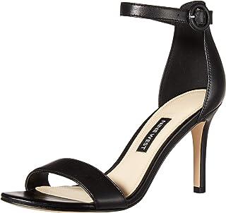 NINE WEST Women's Fashion Sandal Heeled, Black, 5.5 M US
