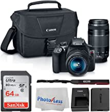 Canon EOS Rebel DSLR T6 Camera Body + Canon EF-S 18-55mm IS II Lens & EF 75-300mm III Lens + Canon EOS Shoulder Bag (Black...