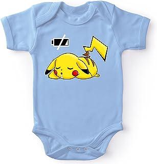 Okiwoki Body bébé Manches Courtes Garçon Bleu Parodie Pokémon - Pikachu - Batterie à Plat !(Body bébé de qualité supérieu...