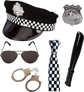 Mega_Jumble® Adult Cop Unisex Police Set Hat, Tie, Badge, Truncheon, Hand Cuffs & Sunglasses Ladies Mens British Police NY...