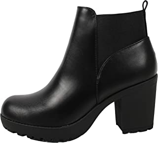 SODA Women's Faux Leather Elastic Pull On Tab Lug Ankle Boot