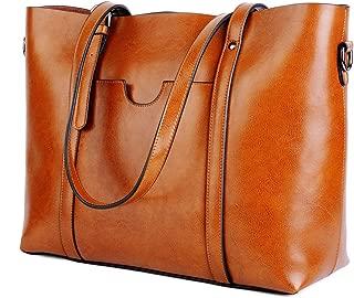 Leather Tote Work Women's Shoulder Bag Vintage Style Soft Work Large