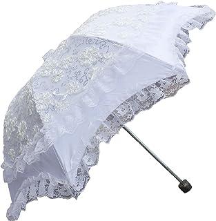 Honeystore 折りたたみ 日傘 uvカット 100 遮光 レース日傘 二重 フリル 手作り刺繍 花嫁 結婚式 撮影傘 パラソル 白