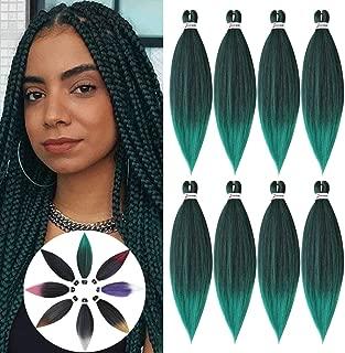 Easy trenza pre estirada extensión del cabello trenzado, trenzado de cabello Crochet Extensiones de cabello de fibra sintética hechas a baja temperatura 8 piezas