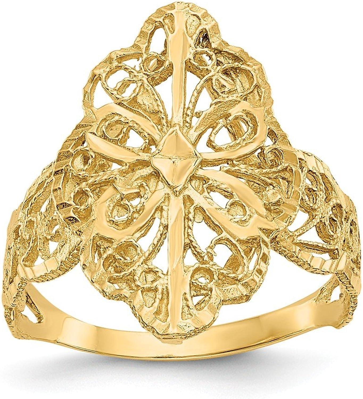 Beautiful Yellow gold 14K Yellowgold 14K Diamond Cut Filigree Ring
