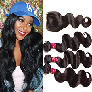 UNice Hair Icenu Series Free Part 1pc 4x4 Lace Closure with Virgin Brazilian Human Hair 3 Bundles Weaves 4pcs Lot Body Wave Natural Color(16 18 20+14free part)