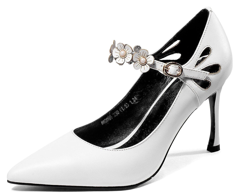[チカル] レディース アンクルストラップ パンプス ハイヒール パンプス シューズ 8.5cm ピンヒール 美脚 靴 牛革 レザー 本革 ドレス オフィス リクルート フォーマル 通勤 カジュアル ビジネス 結婚式 履きやすい
