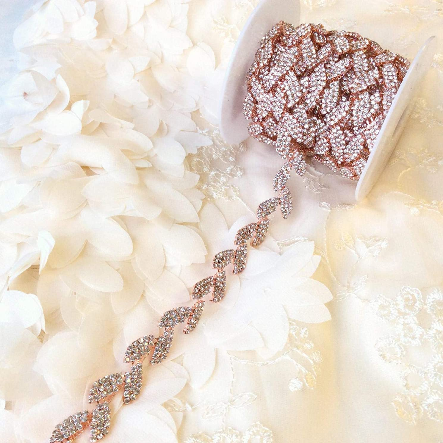 Crystal Rhinestone Trim by The Yard -Bridal Trim - Thin Crystal Trim - Rhinestone Chain Applique (Rose Gold Metal)