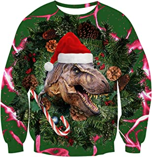 Uideazone Men Women Printed Ugly Christmas Dinosaur Pullover Sweatshirts X-mas Gift for Family