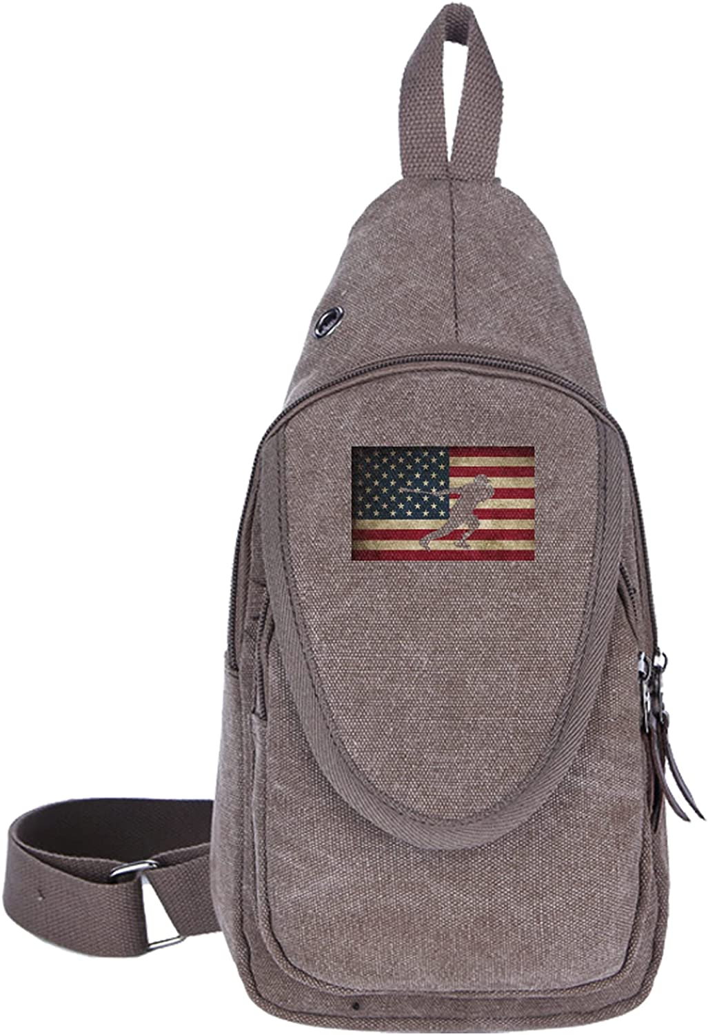 American Flag Baseball High quality Painting Crossbo Backpack Shoulder Overseas parallel import regular item Canvas
