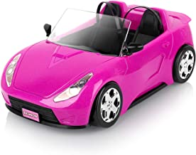 Super Joy Convertible Car for Dolls (Great for Barbie Dolls), Glittering Magenta Convertible Doll Vehicle with working Seat Belts