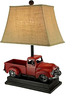 Rustic Red Antique Truck Table Lamp with Burlap Shade