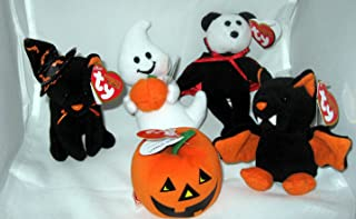 TY Halloweenie Beanie Babies - Halloween 2010 Complete set of 5 (glow, scurry, spooky, swoop & twilight)