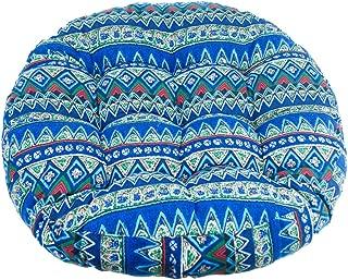 Solid Papasan Patio Seat Cushion Round Chair Pad Home Floor Cushion 22 Inch Throw Pillows Bohemia Indoor/Outdoor Blue