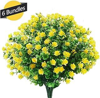 GREENRAIN 6 Bundles Artificial Flowers Outdoor Fake Flowers for Decoration UV Resistant No Fade Faux Plastic Plants Garden Porch Window Box Décor (Yellow)