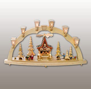 Richard Glässer Seiffen German Candle Arch Advent House, Length 80 cm / 32 inch, Natural, electrically Illuminated, Origin...