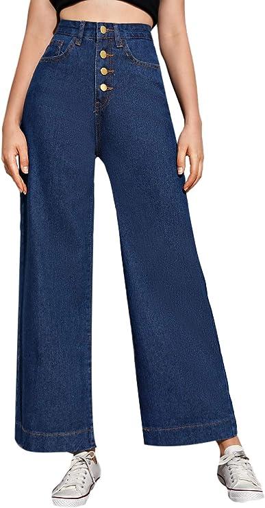 Fashion Women Denim | Women's Casual Denim Pants High Waisted Wide Leg Jeans