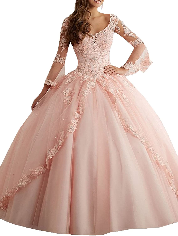 LEJY Women's Long Sleeve Quinceanera Dresses 2017 Applique Tulle Ball Gown VNeck